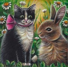 Cat & Bunny Spring Easter Painting #Realism