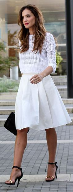 { love the mix of the sweater and the skirt }