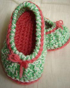Baby Slipper Shoes Hand Crochet Wool Cotton 6-12M