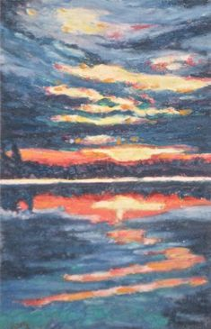 Pastel Sky, Lake Water, Acrylic Box, Art Work, Island, Landscape, Day, Pictures, Painting
