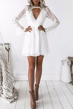 Fashion Sexy Deep V Lace Point Horn Sleeve Mini Dress – Ininruby Mini Dress With Sleeves, White Mini Dress, Lace Sleeves, Shoes With White Dress, Elegant White Dress, White Dress Winter, Lace Homecoming Dresses, Grad Dresses, Mini Dresses