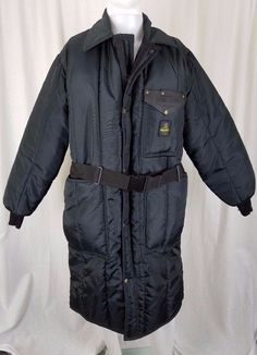 Refrigwear Iron-Tuff Inspector Coat Mens M Long Quilted Insulated Belted Black #RefrigiWear #Parka