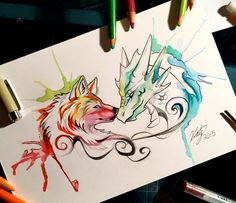 105- Dragon and Wolf by Lucky978.deviantart.com on @DeviantArt