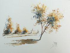 pas à pas en français : utiliser une éponge naturelle pour peindre des arbres à l'aquarelle.                                                                                                                                                                                 Plus