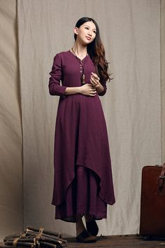 maxi dress in purple long linen dress layered by camelliatune