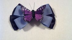 Purple Butterfly Hairbow by GloriaMillerCreation on Etsy, $6.99