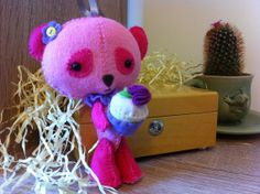 Ted bear plush. Pink. Hand sewn felt toy. A by WinnieAndTed, £18.00