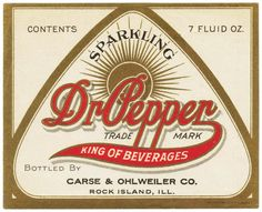 Vintage soda pop bottle label DR PEPPER King of Beverages slogan new old stock Dr. Pepper, Vintage Labels, Vintage Signs, Vintage Ads, Vintage Menu, Vintage Packaging, Vintage Type, Vintage Branding, Sodas