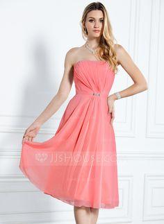 Bridesmaid Dresses - $99.99 - A-Line/Princess Strapless Knee-Length Chiffon Bridesmaid Dress With Ruffle Beading (007000916) http://jjshouse.com/A-Line-Princess-Strapless-Knee-Length-Chiffon-Bridesmaid-Dress-With-Ruffle-Beading-007000916-g916