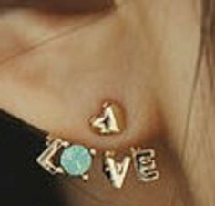 "Rhinestone Heart Love Letter Earrings - Gold tone heart stud earrings with a rhinestone heart in the ""Love"" lettering. Heart stud can be worn alone.  Available in Gold with Clear, Jade or Red rhinestones."