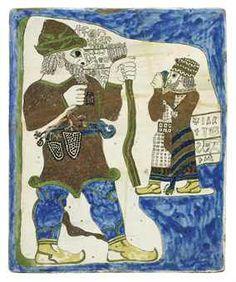 A LARGE KUTAHYA TILE DEPICTING THE ROYAL RELIEF OF IVRIZ Turkish Art, Bing Images, 19th Century, Moose Art, Ottoman, Tile, Turkey, Animals, Painting