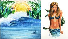 Surf Artist – Heather RittsIntroducing Californian surf artist Heather Ritts… Her portfolio features bright colours and surreal images from her imagination, ocean inspired women, watercolour waves as well as ink & acrylic renditions, painted surfboards and fins.