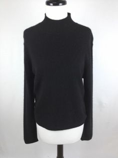 Lord Taylor Sweater Cashmere Black Luxury Button Up Neck Knit Womens L | eBay