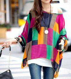 Stylish Women's Scoop Neck Batwing Sleeve Color Block Chiffon Blouse