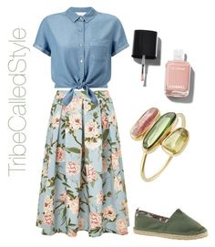 """""""Green & Floral Denim"""" by tribecalledstyle ❤ liked on Polyvore featuring Miss Selfridge, Sakroots, Chanel and Pippa Small"""