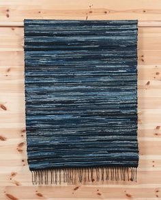 Handmade Denim Rag Rug by Denim Demon Jeans (Sweden) - Long John Denim Rug, Denim Quilts, Peg Loom, Long Johns, Recycled Denim, Loom Weaving, Rag Rugs, Fashion Boots, Blue Denim