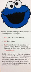Power cards..tips for students to calm down utilizing cookie monster (for my pre-k through 1st grade kiddos)