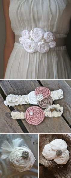 DIY Fabric Rosette Accessories- great for weddings, clothing, accessories and home decor. Ashton You should do an Etsy shop with just your flowers and do BRIDAL accessories! How To Make Headbands Fabric Crafts, Sewing Crafts, Sewing Projects, Diy Crafts, Sewing Ideas, Diy Projects, Handmade Flowers, Diy Flowers, Paper Flowers