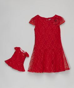 Red Sequin Lace Cap-Sleeve Dress & Doll Dress - Girls