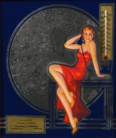 Irene Patten - Art Deco Thermometer Irene, Advertising Pictures, Pin Up Drawings, Pin Up Poses, Calendar Girls, Art Deco Era, Pin Up Art, Vintage Advertisements, Pin Up Girls