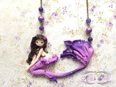 My last #mermaid so far, entirely made out of #polymerclay on her #bronze #chain. A nice and simple #necklace :)  20€ on #Etsy !  You can also order your very own creation or just a #custom version of an already existing one #EtsyCustom ****************************************  Get 10% #OFF with the #promo #code 2016SALES . #soldes #sales  ****************************************