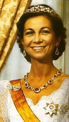 Sofia of Greece and Denmark, Queen consort of King Juan Carlos I, wearing the Niarchos Ruby Tiara, Spain (1962; made by Van Cleef & Arpels; rubies, diamonds).
