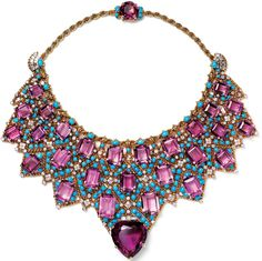 Vintage Cartier Turquoise and Amethyst Bib necklace.  I am obsessed with this.