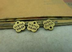 100pcs/Lot 8*8mm Antique Bronze Hand Made Letter Pendant Vintage DIY Jewelry Findings