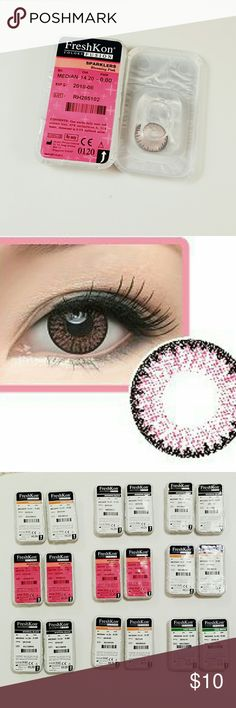 Freshkon color contact lenses (Blooming Pink) 100% Authetic and completely sealed. They are from Freshkon and non prescription.  FreshKon? is a leading international cosmetic contact lens brand which have a big variety of color selection.   Brand: Freshkon  Water content: 55% Diameter: 14.2 mm Base Curve: 8.6 Duration: Monthly Disposable Package: 2 Pcs (1 pair) of the same power.   Natural Look: Natural shadesDefined outline for alluring effect.  Superior Comfort: Hydrophilic surface for…