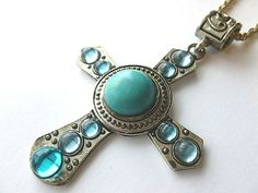 Turquoise & Silver Cross with Aqua Cabochons by THECRYSTALCROSS