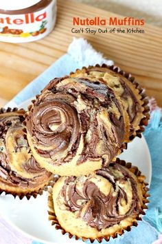 Oh my goodness, Nutella Muffins are heavenly. I have a confession to make. I've never tasted anything with Nutella before this. Quite frankly, I wondered wh Nutella Muffins, Nutella Cake, Nutella Brownies, Nutella Spread, No Bake Desserts, Delicious Desserts, Fig Cake, Chocolate Banana Bread, Nutella Recipes