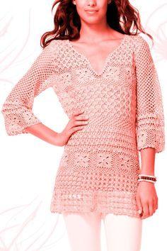 Crochet tunic PATTERN, PDF tutorial + detailed HQ charts, trendy crochet tunic pattern, beautiful tunic pattern, summer tunic pattern.