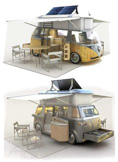 VW camping car - um want one Vw Bus, Transporteur Volkswagen, Bus Camper, Mini Camper, Volkswagen Transporter, Glamping, Vw Camping, Camping Theme, Camping Stuff