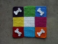 I add some decorative bones to Toby's pet mat-to-be