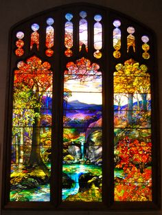 Tiffany stained glass viewed from the Grand Staircase in Piper Hall at Loyola University, Chicago. Description from indulgy.com. I searched for this on bing.com/images