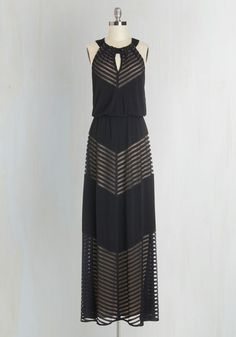<p>You're renowned for your elegant edge, which you channel when you slip into this marvelous maxi! A taupe lining peeks out from the striped mesh panels at the bodice and skirt of this dress, while back and neckline cutouts add to a sleek look that's a guaranteed soiree stunner.</p>