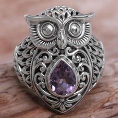 Amethyst cocktail ring, 'Amethyst Owl' - Amethyst Sterling Silver Owl Cocktail Ring from Indonesia Owl Jewelry, Animal Jewelry, Jewelery, Jewelry Accessories, Jewelry Design, Fashion Accessories, Owl Pendant, Pendant Necklace, Owl Ring