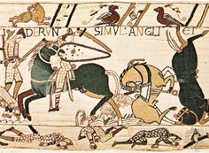 Medieval embroidery depicting the Norman Conquest of England in remarkable as a work of art and important as a source for history. The tapestry is a band of linen 231 feet metres). Medieval Art, Medieval Times, Medieval Swords, Medieval Manuscript, British History, Art History, Family History, Medieval Embroidery, Crewel Embroidery