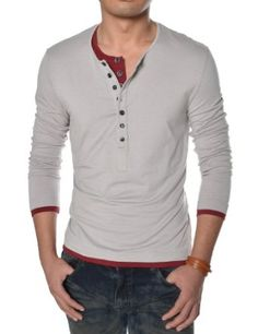 TheLees Mens Casual Long Sleeve Layered Style Button Tshirts