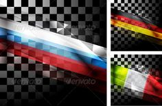 Concept design of flags. Russia, Germany and Italy. Used transparency and blending effects. Vector files are fully editable. ZIP a