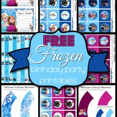 Free Frozen Birthday Party Printable Kit - •Invitations •Cupcake/Treat Toppers – in both Elsa blue and Anna Purple •Cupcake Wrappers •Straw Flags