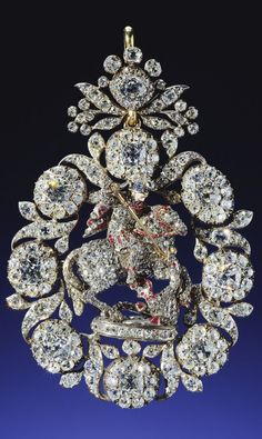 GREAT BRITAIN_From the Royal Collection – Lesser George of gold, jeweled all over, mainly with diamonds, probably made for George II before 1752 Victorian Jewelry, Antique Jewelry, Vintage Jewelry, Art Deco Jewelry, Fine Jewelry, Jewelry Design, Royal Jewelry, Diamond Jewelry, Gold Jewelry