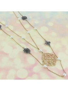 Two-Tone Pearl and Scroll Medallion Pendant Layered Necklace #ON0958-TT | eWAM