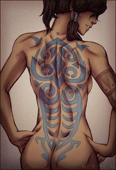 "Korra's ""Raava"" full back tattoo"