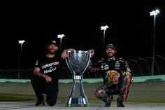Crew chief Cole Pearn joins Martin Truex Jr. with the Cup.