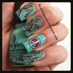Nail Art love the trees not the peace sign though