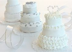 Miniature wedding cakes.