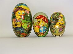 3 Vintage German Made Cardboard And Paper Mache Easter Egg Shape Candy Containers