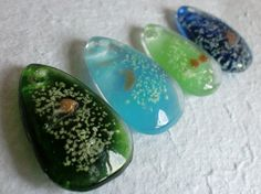 Set Of 4 Green & Blue Glass Pendants With Glow In The by taramar, €4.50