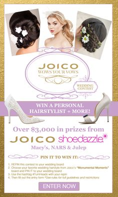 Pin It To Win It! Follow the instructions above, making sure to click here: www.joico.com/... and fill out the entry form when you're done re-pinning! #TurnHeads #wedding #contest #giveaway #sweepstakes